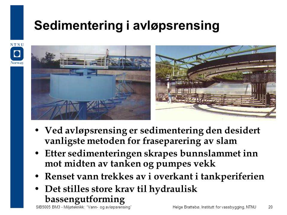 Sedimentering i avløpsrensing