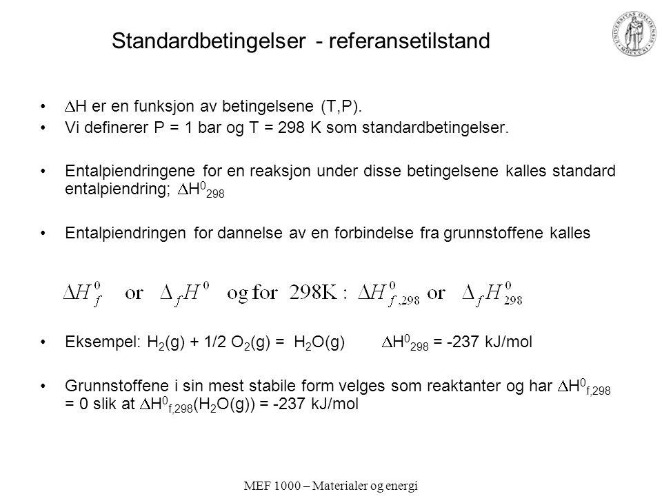 Standardbetingelser - referansetilstand