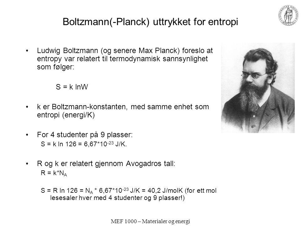 Boltzmann(-Planck) uttrykket for entropi
