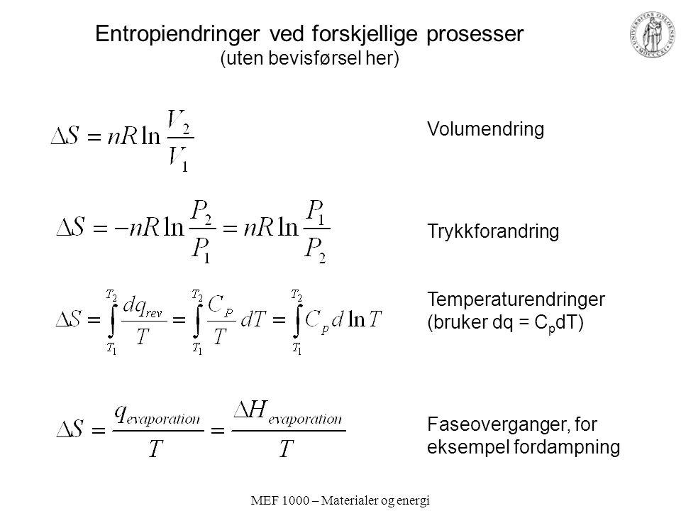 Entropiendringer ved forskjellige prosesser (uten bevisførsel her)