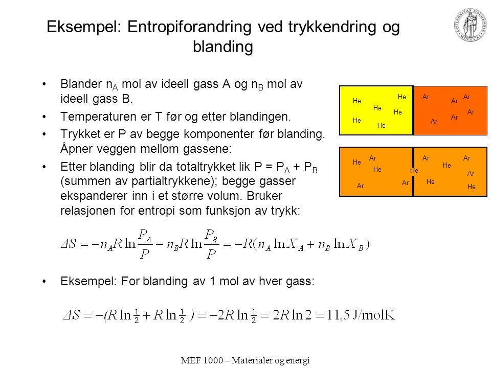 Eksempel: Entropiforandring ved trykkendring og blanding