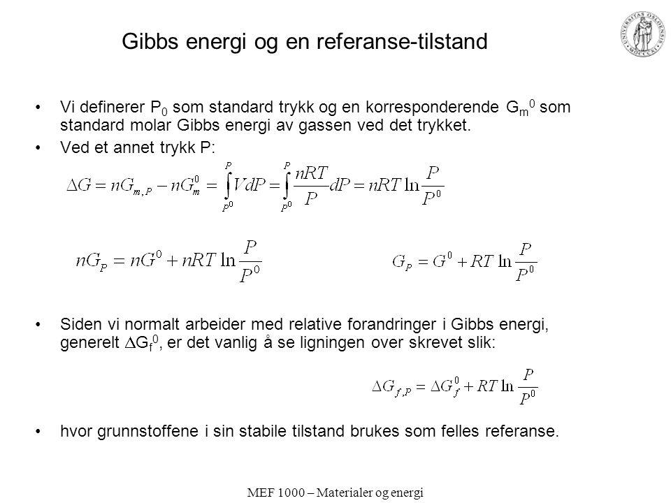 Gibbs energi og en referanse-tilstand