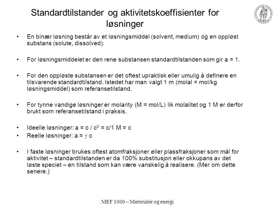 Standardtilstander og aktivitetskoeffisienter for løsninger