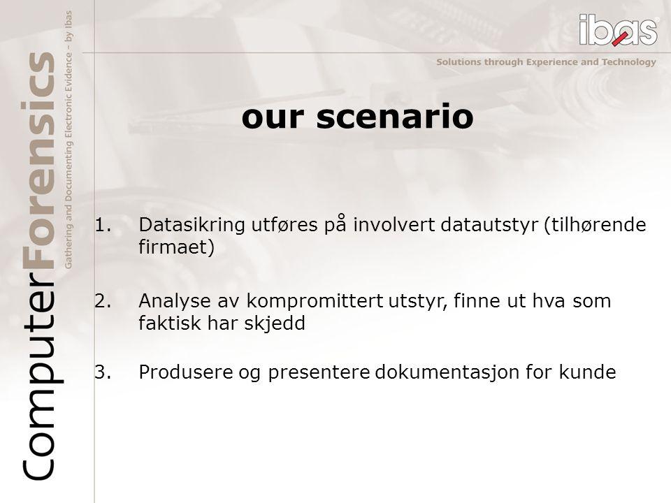 our scenario Datasikring utføres på involvert datautstyr (tilhørende firmaet) Analyse av kompromittert utstyr, finne ut hva som faktisk har skjedd.