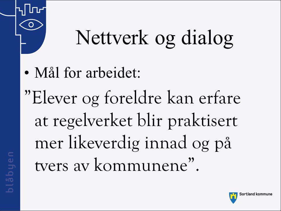 Nettverk og dialog Mål for arbeidet: Elever og foreldre kan erfare at regelverket blir praktisert mer likeverdig innad og på tvers av kommunene .