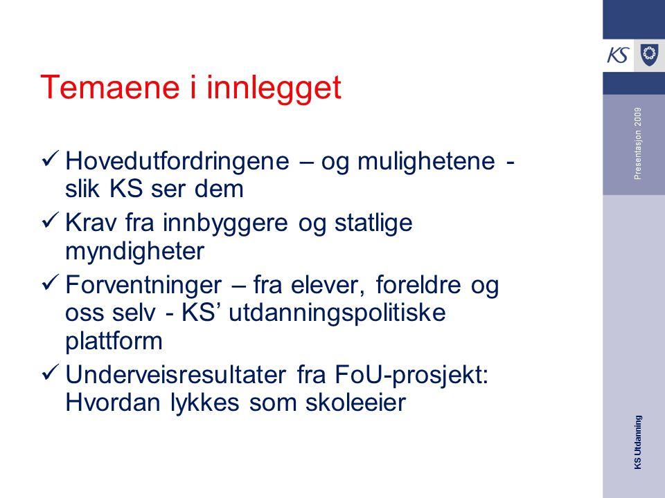 Temaene i innlegget Presentasjon 2009. Hovedutfordringene – og mulighetene - slik KS ser dem. Krav fra innbyggere og statlige myndigheter.