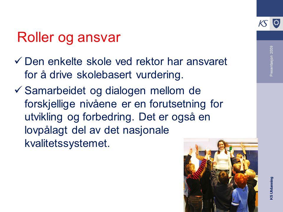 Roller og ansvar Den enkelte skole ved rektor har ansvaret for å drive skolebasert vurdering.