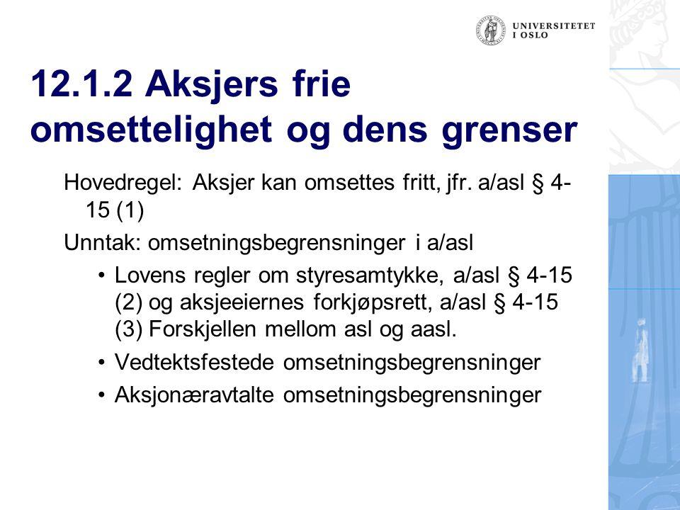 12.1.2 Aksjers frie omsettelighet og dens grenser