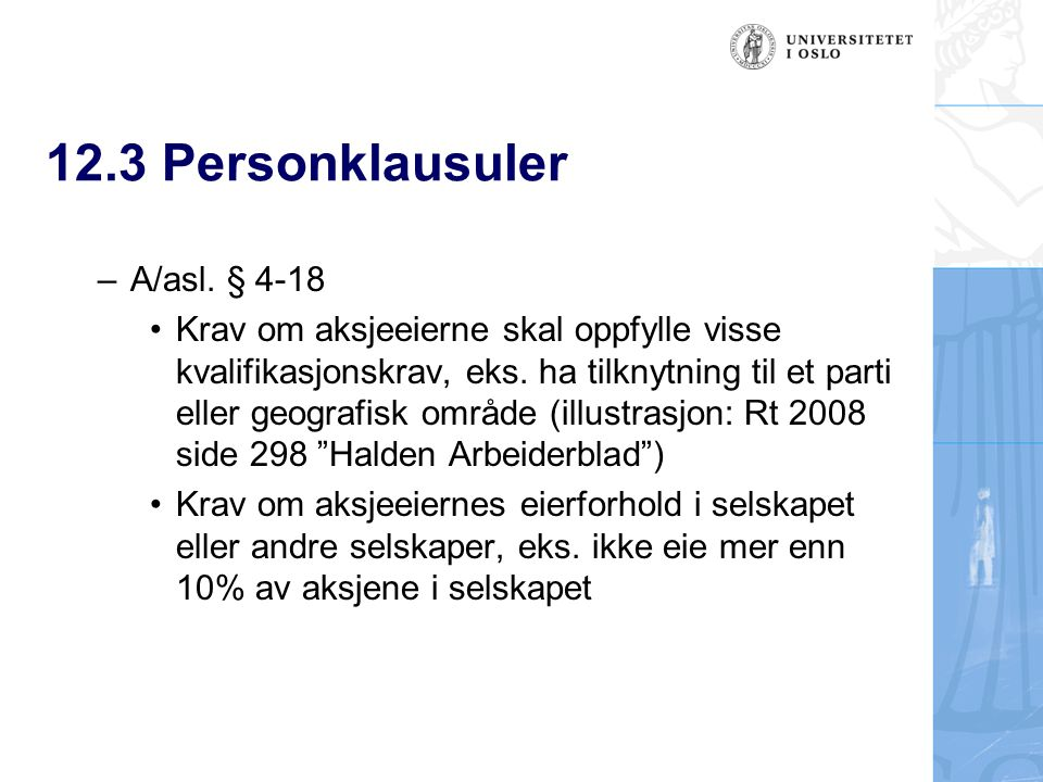 12.3 Personklausuler A/asl. § 4-18
