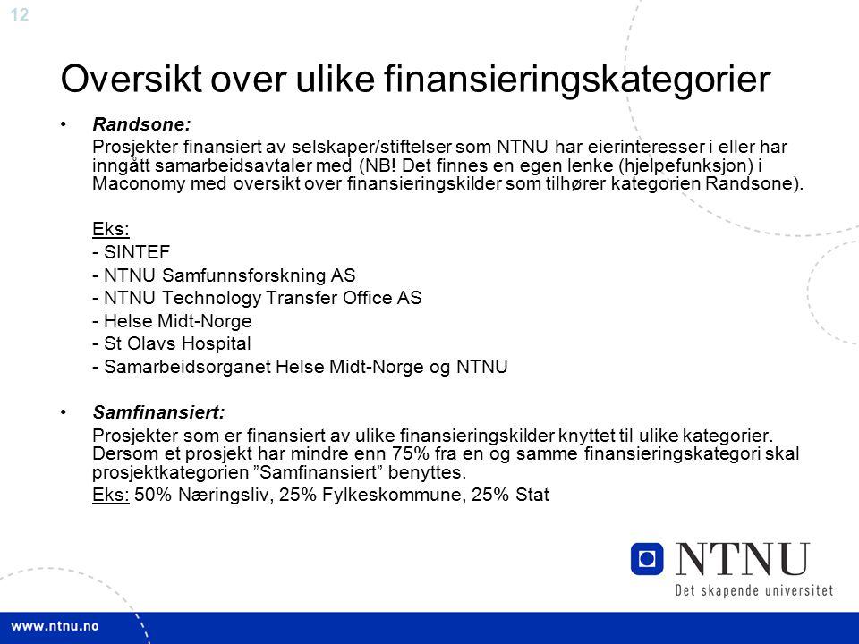 Oversikt over ulike finansieringskategorier