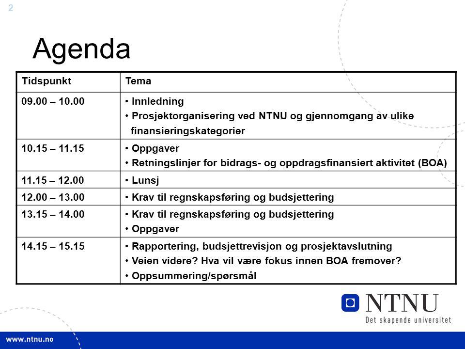 Agenda Tidspunkt Tema 09.00 – 10.00 Innledning