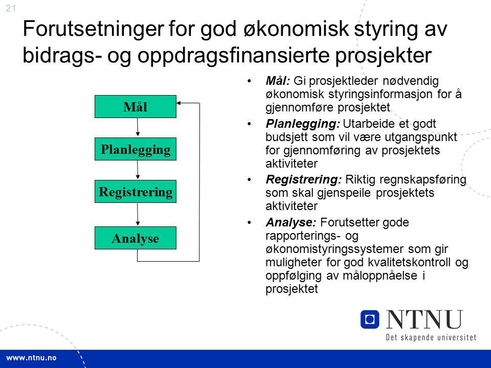 Forutsetninger for god økonomisk styring av bidrags- og oppdragsfinansierte prosjekter