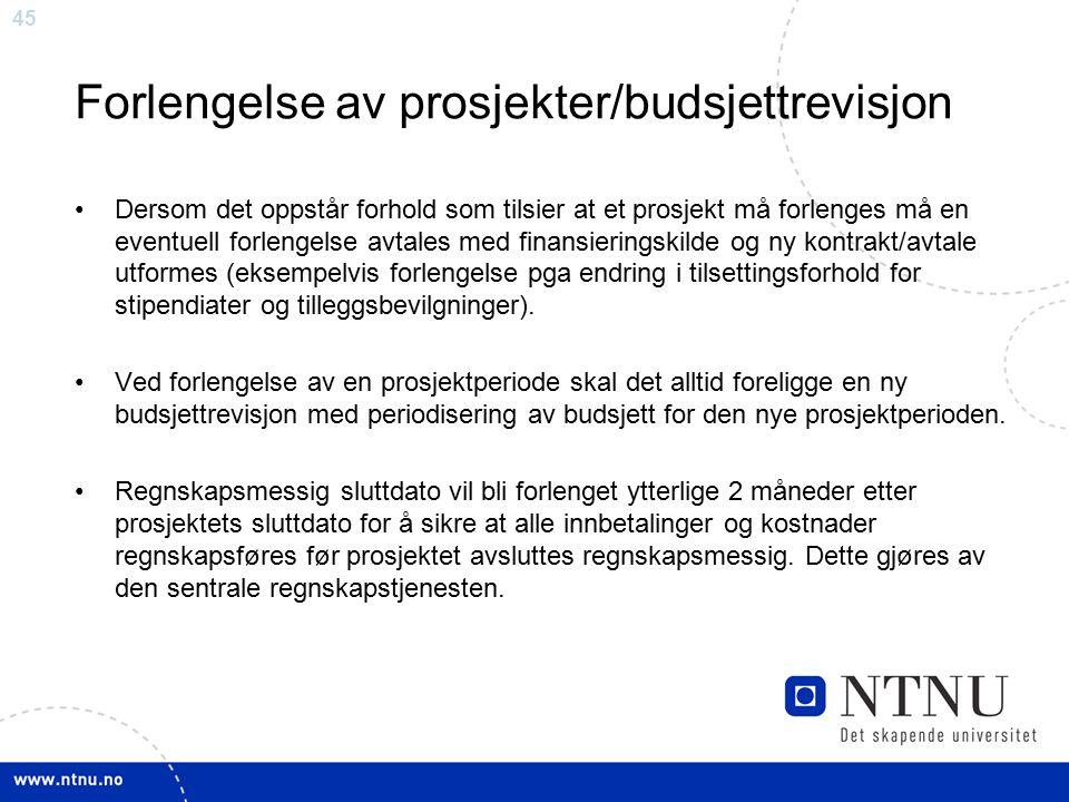 Forlengelse av prosjekter/budsjettrevisjon