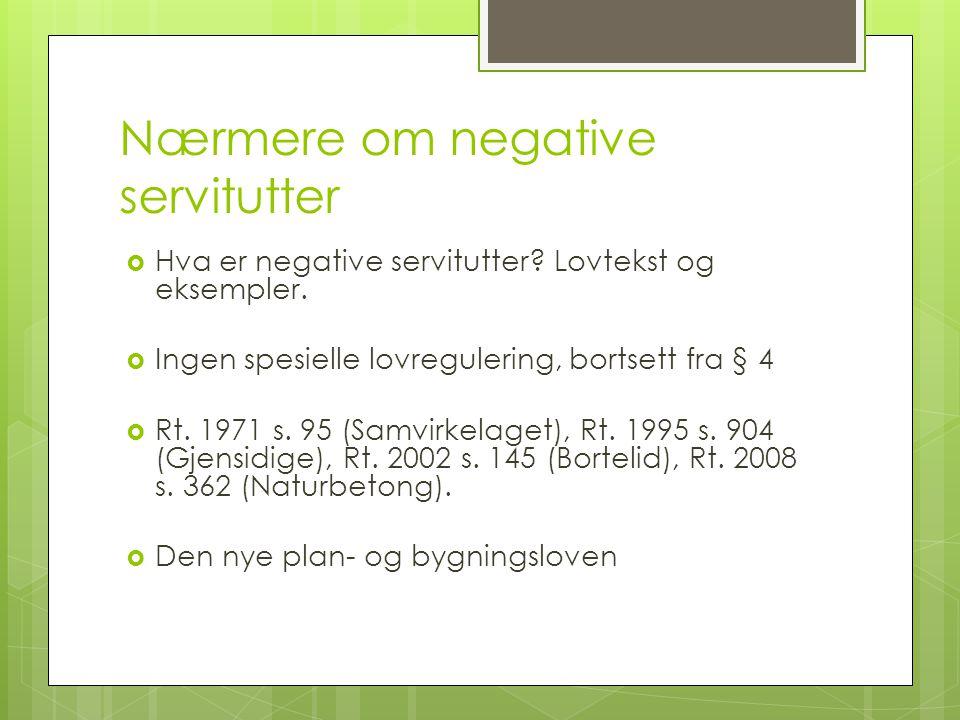 Nærmere om negative servitutter