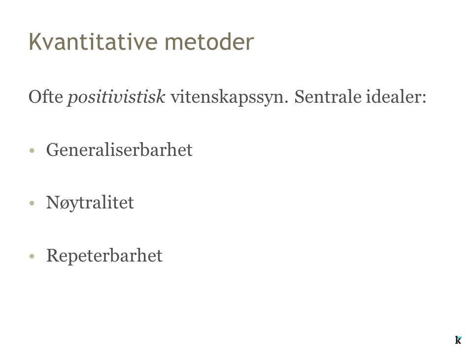 Kvantitative metoder Ofte positivistisk vitenskapssyn. Sentrale idealer: Generaliserbarhet. Nøytralitet.