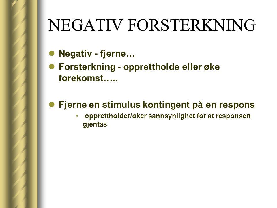 NEGATIV FORSTERKNING Negativ - fjerne…