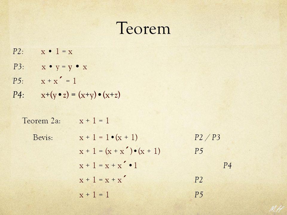 Teorem P4: x+(y•z) = (x+y)•(x+z)