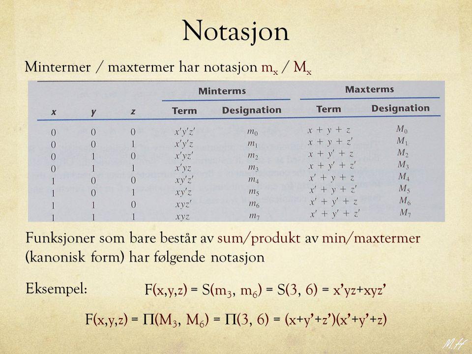Notasjon Mintermer / maxtermer har notasjon mx / Mx geer