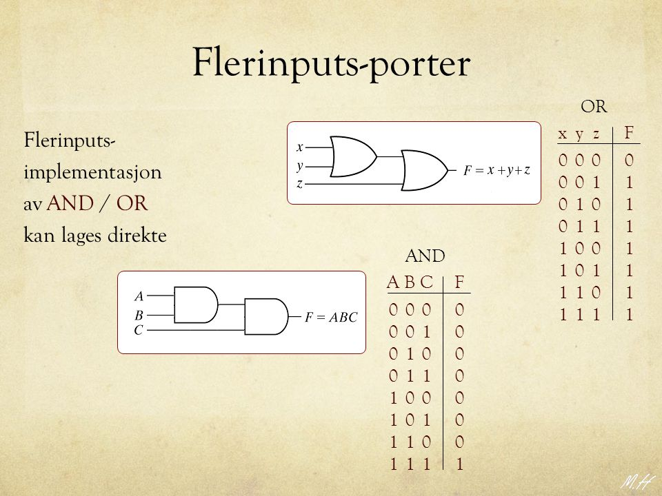 Flerinputs-porter Flerinputs- implementasjon av AND / OR
