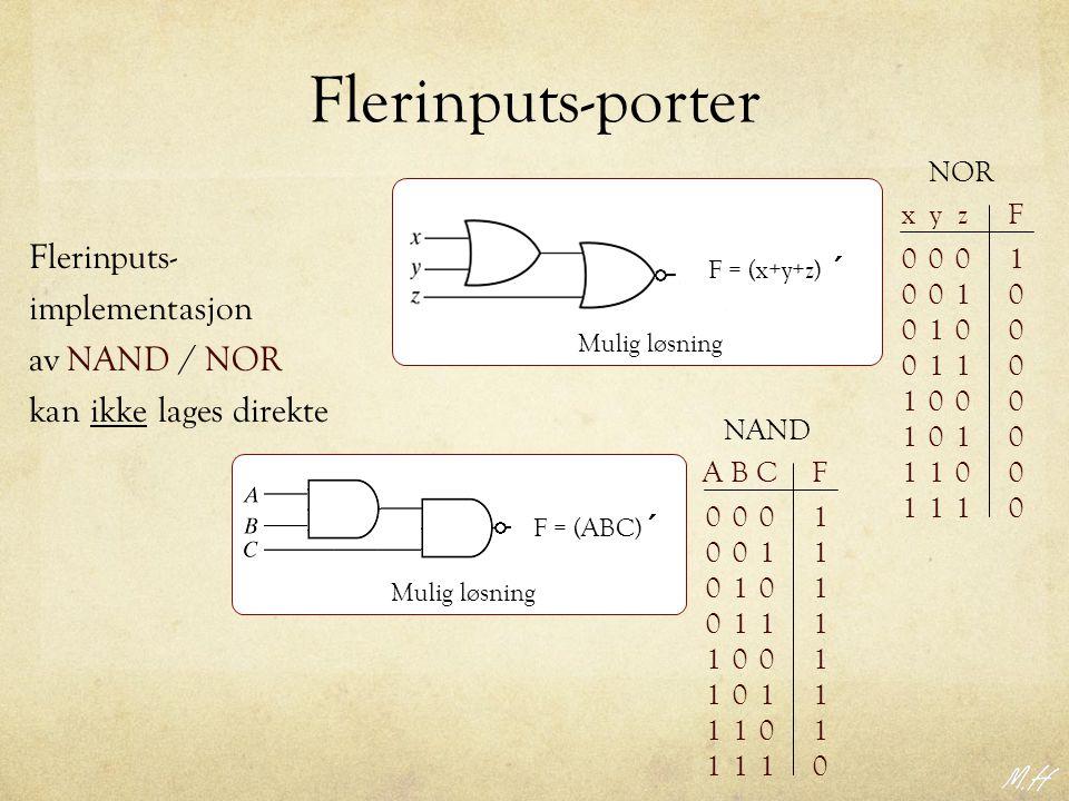 Flerinputs-porter Flerinputs- implementasjon av NAND / NOR