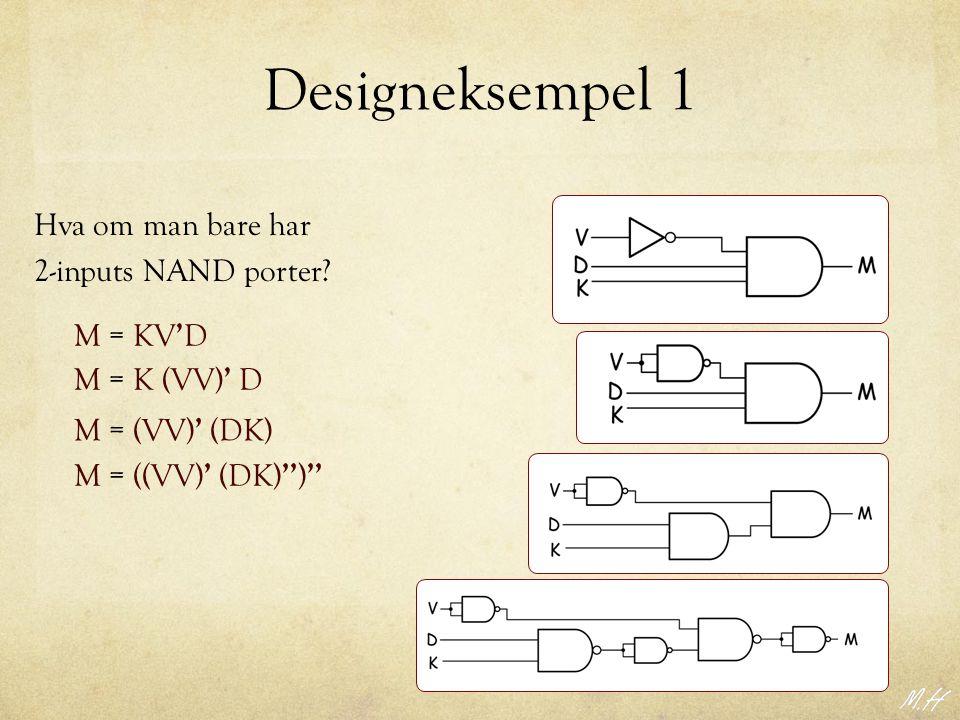 Designeksempel 1 Hva om man bare har 2-inputs NAND porter M = KV'D
