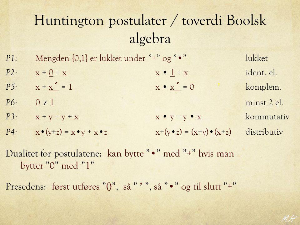 Huntington postulater / toverdi Boolsk algebra