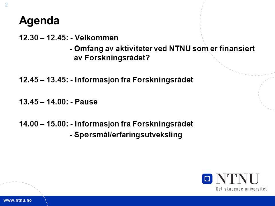 Agenda 12.30 – 12.45: - Velkommen. - Omfang av aktiviteter ved NTNU som er finansiert av Forskningsrådet