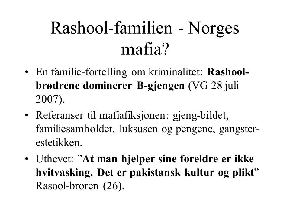 Rashool-familien - Norges mafia