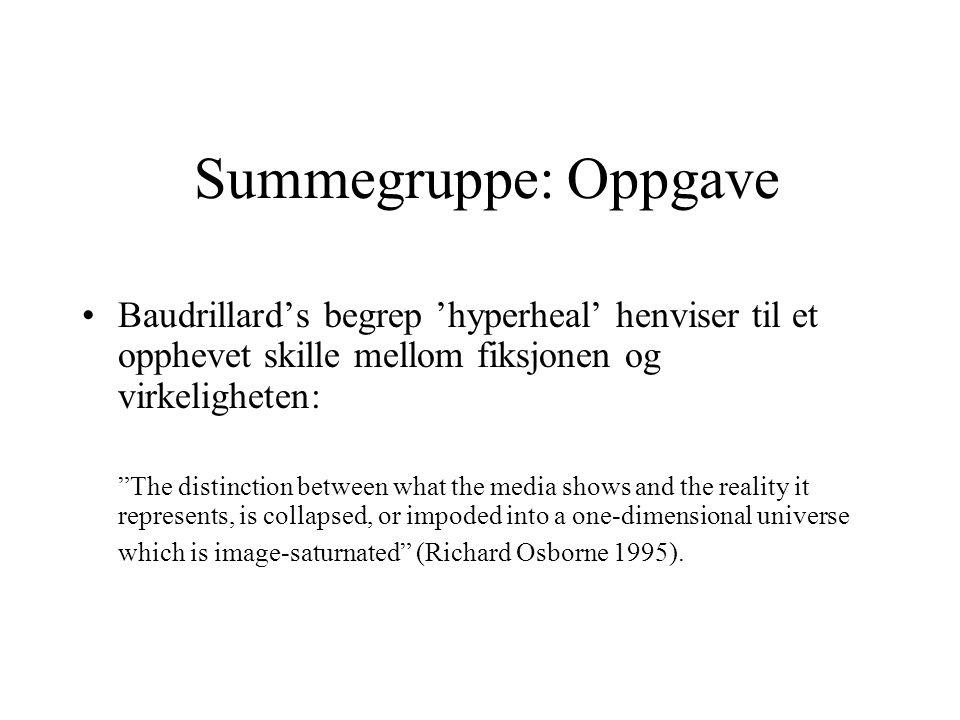 Summegruppe: Oppgave Baudrillard's begrep 'hyperheal' henviser til et opphevet skille mellom fiksjonen og virkeligheten: