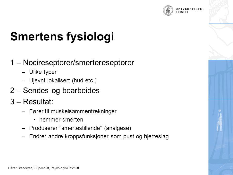 Smertens fysiologi 1 – Nocireseptorer/smertereseptorer