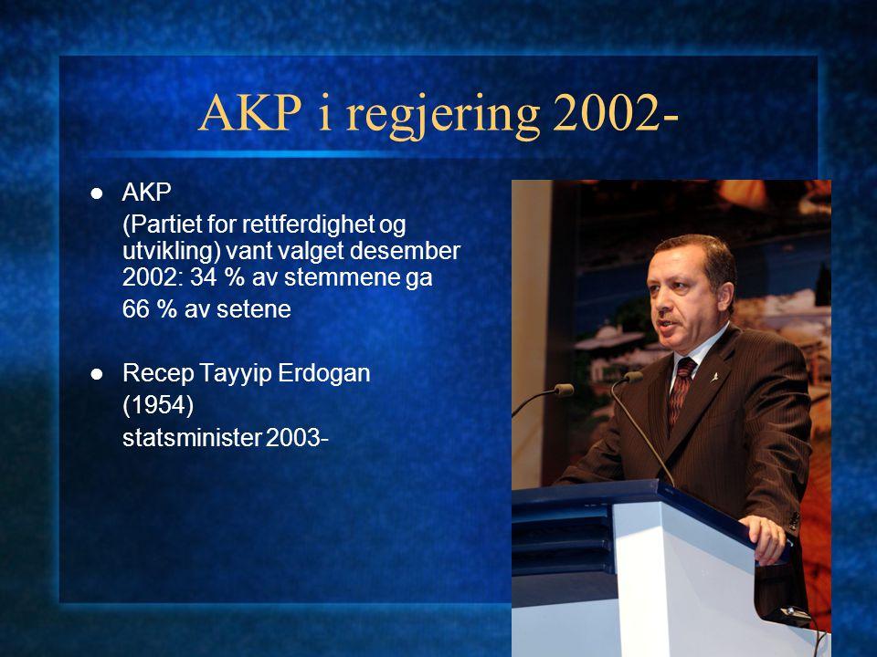 AKP i regjering 2002- AKP. (Partiet for rettferdighet og utvikling) vant valget desember 2002: 34 % av stemmene ga.