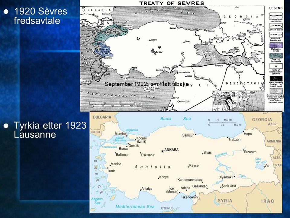 1920 Sèvres fredsavtale Tyrkia etter 1923 Lausanne