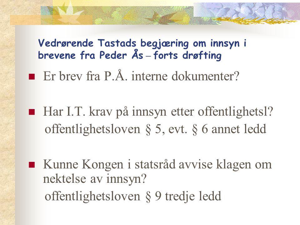 Er brev fra P.Å. interne dokumenter
