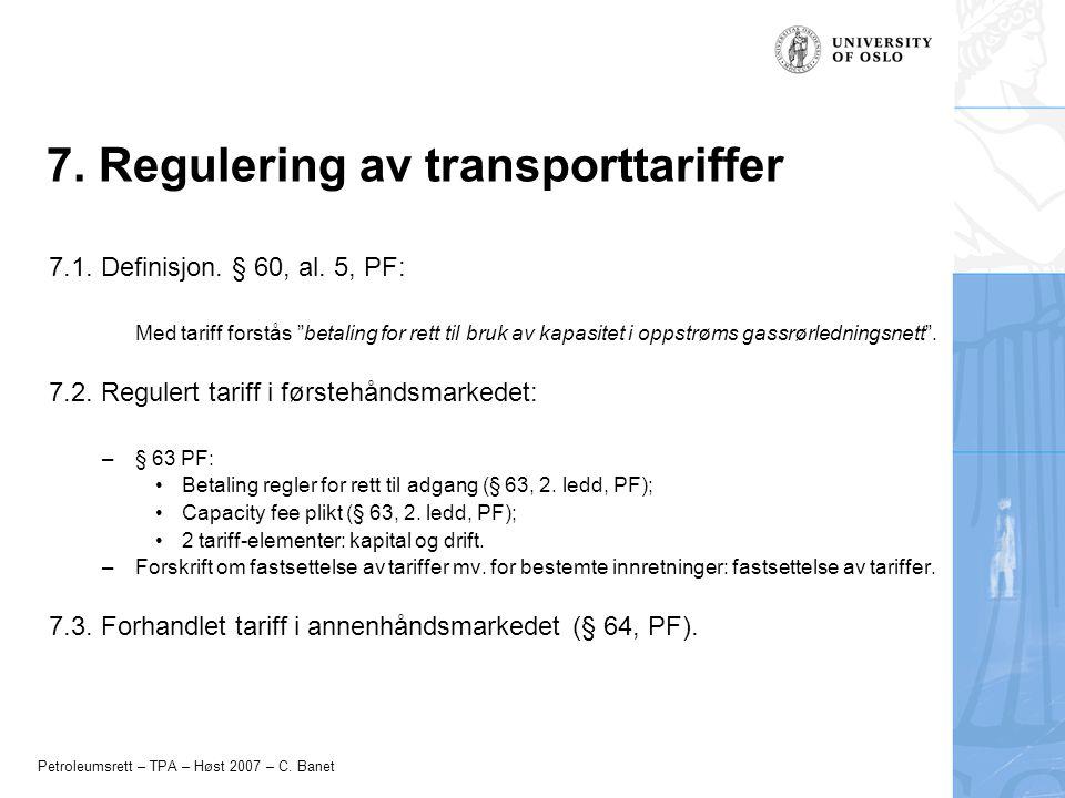 7. Regulering av transporttariffer
