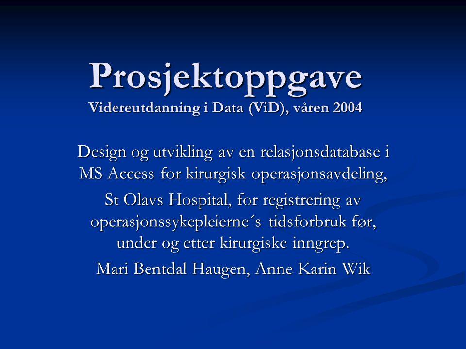 Prosjektoppgave Videreutdanning i Data (ViD), våren 2004
