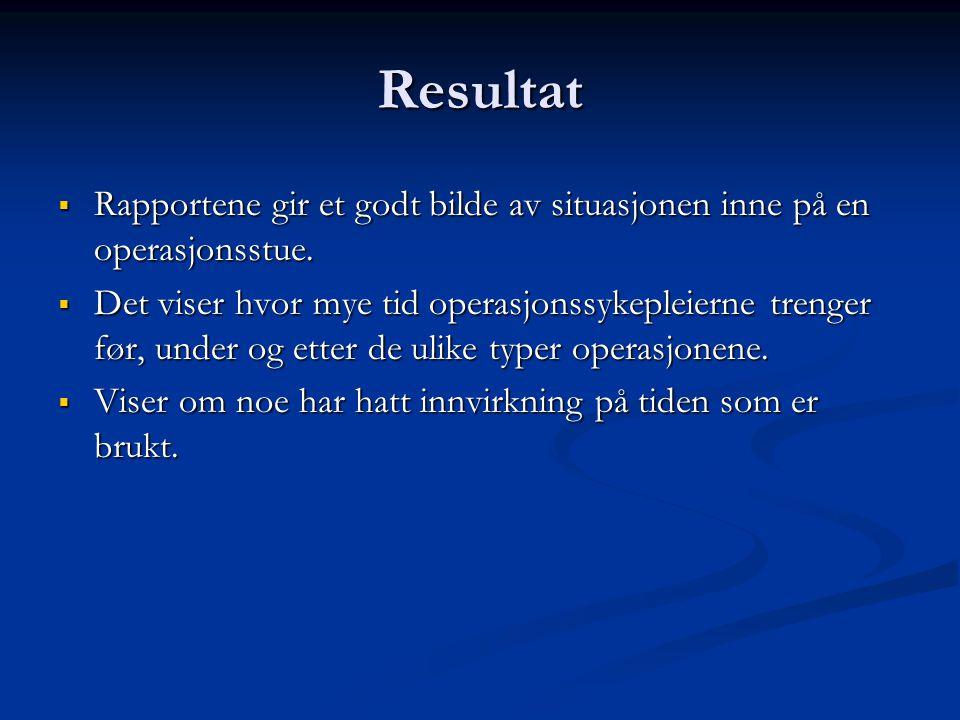 Resultat Rapportene gir et godt bilde av situasjonen inne på en operasjonsstue.