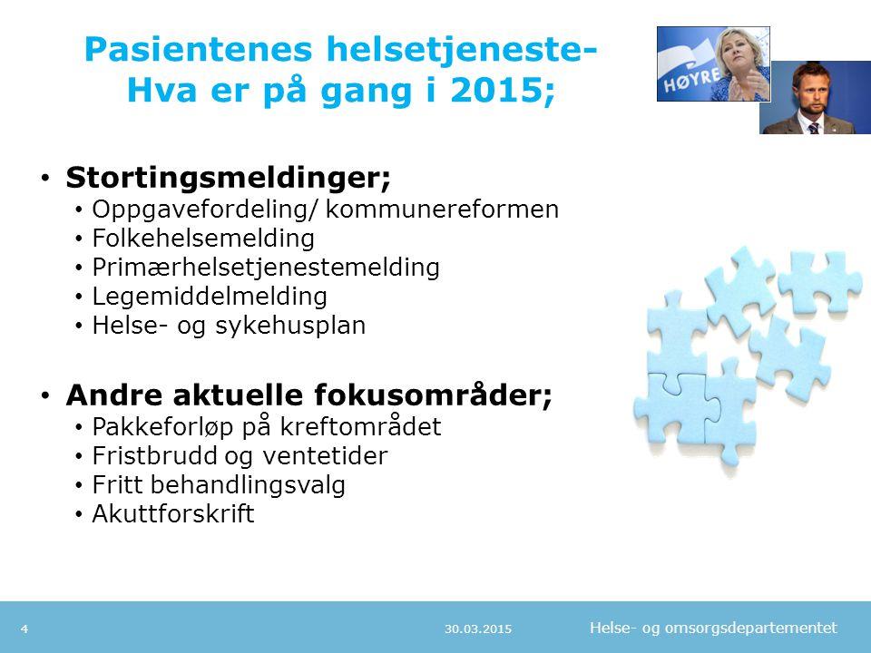 Pasientenes helsetjeneste- Hva er på gang i 2015;