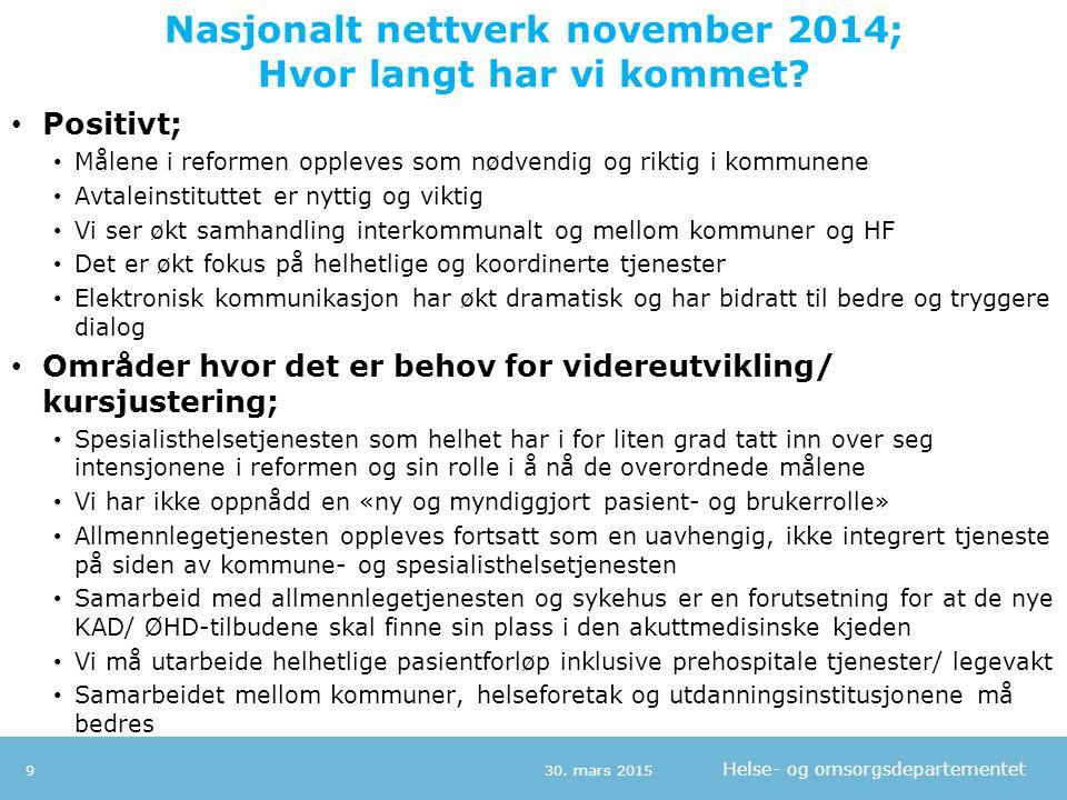 Nasjonalt nettverk november 2014; Hvor langt har vi kommet
