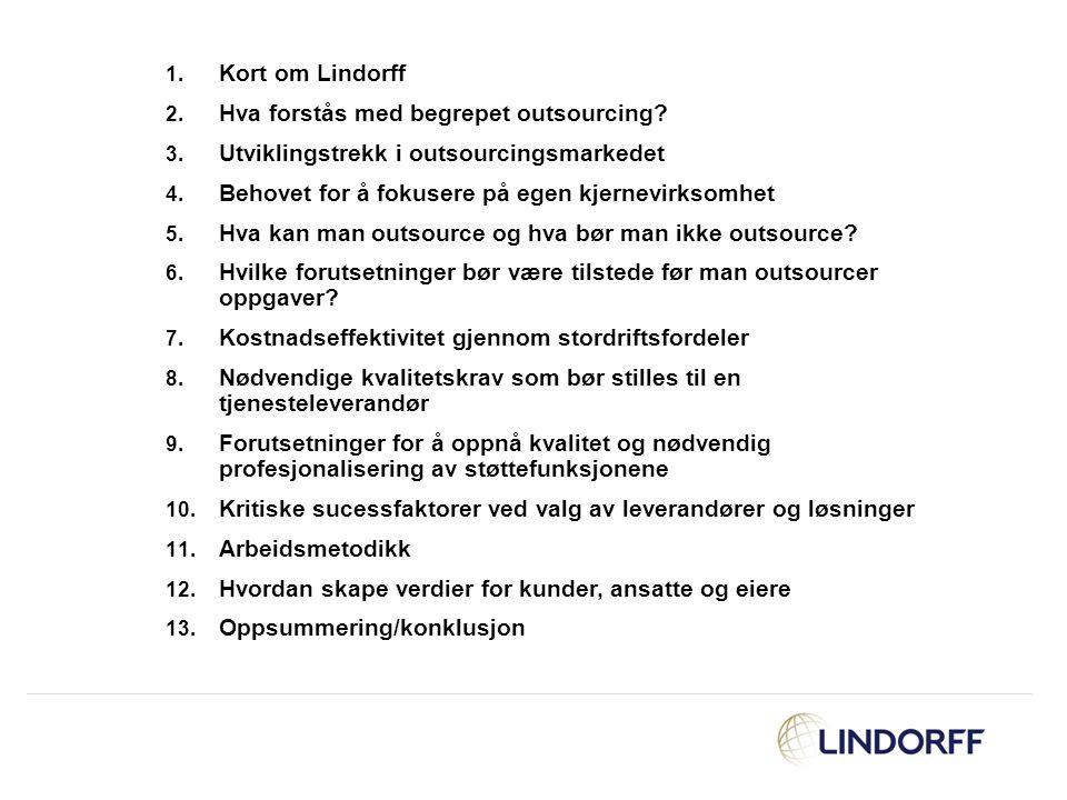 Kort om Lindorff Hva forstås med begrepet outsourcing Utviklingstrekk i outsourcingsmarkedet. Behovet for å fokusere på egen kjernevirksomhet.