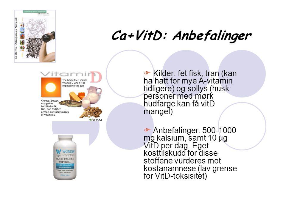 Ca+VitD: Anbefalinger