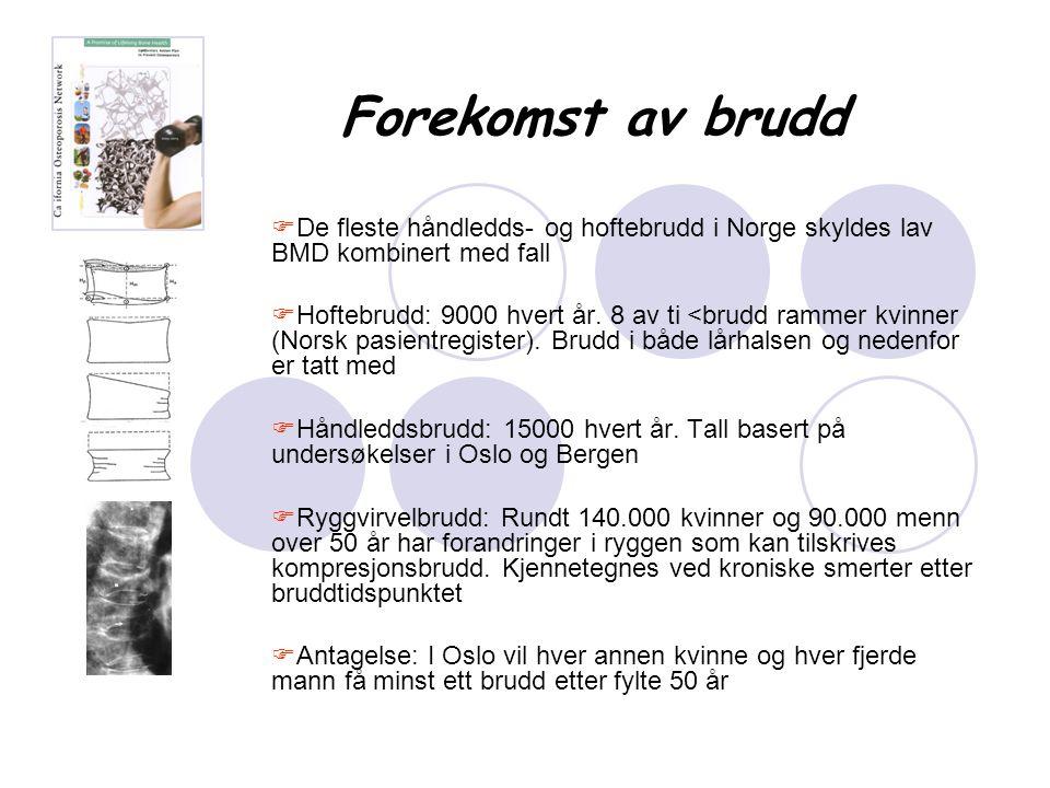 Forekomst av brudd De fleste håndledds- og hoftebrudd i Norge skyldes lav BMD kombinert med fall.