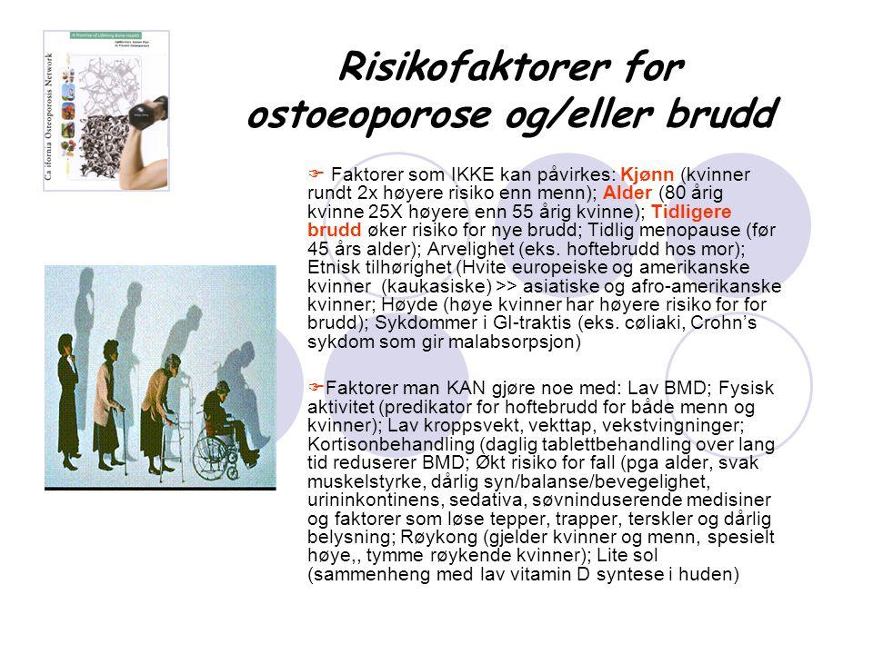 Risikofaktorer for ostoeoporose og/eller brudd