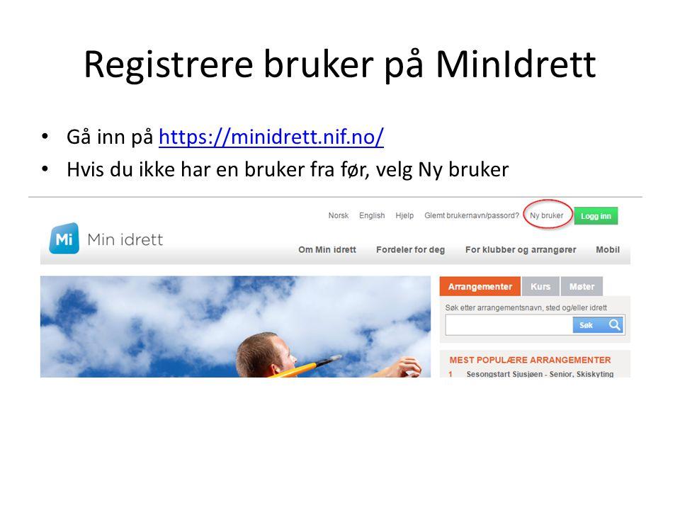 Registrere bruker på MinIdrett