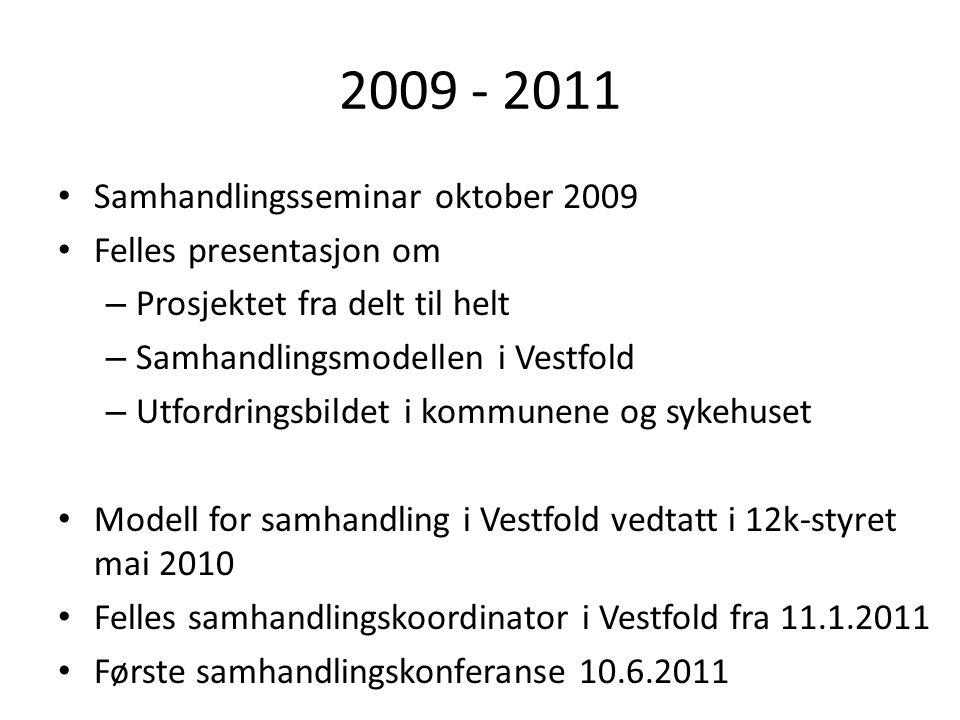 2009 - 2011 Samhandlingsseminar oktober 2009 Felles presentasjon om