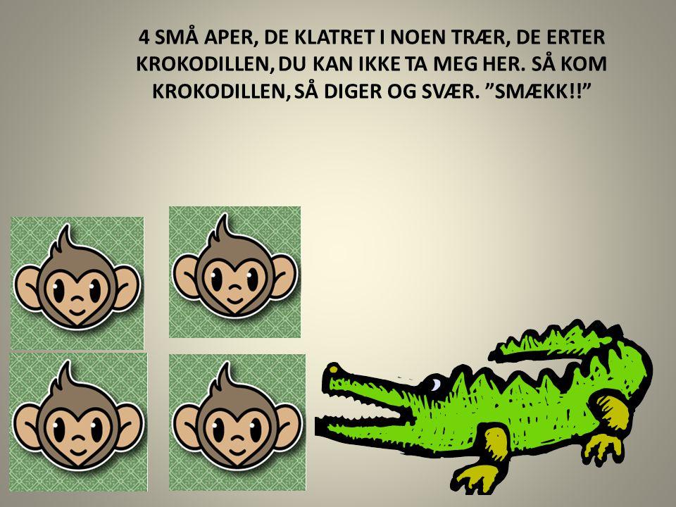 4 SMÅ APER, DE KLATRET I NOEN TRÆR, DE ERTER KROKODILLEN, DU KAN IKKE TA MEG HER.