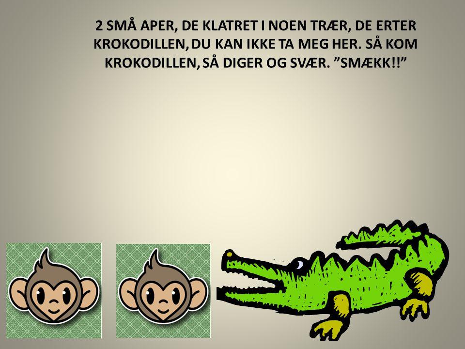 2 SMÅ APER, DE KLATRET I NOEN TRÆR, DE ERTER KROKODILLEN, DU KAN IKKE TA MEG HER.