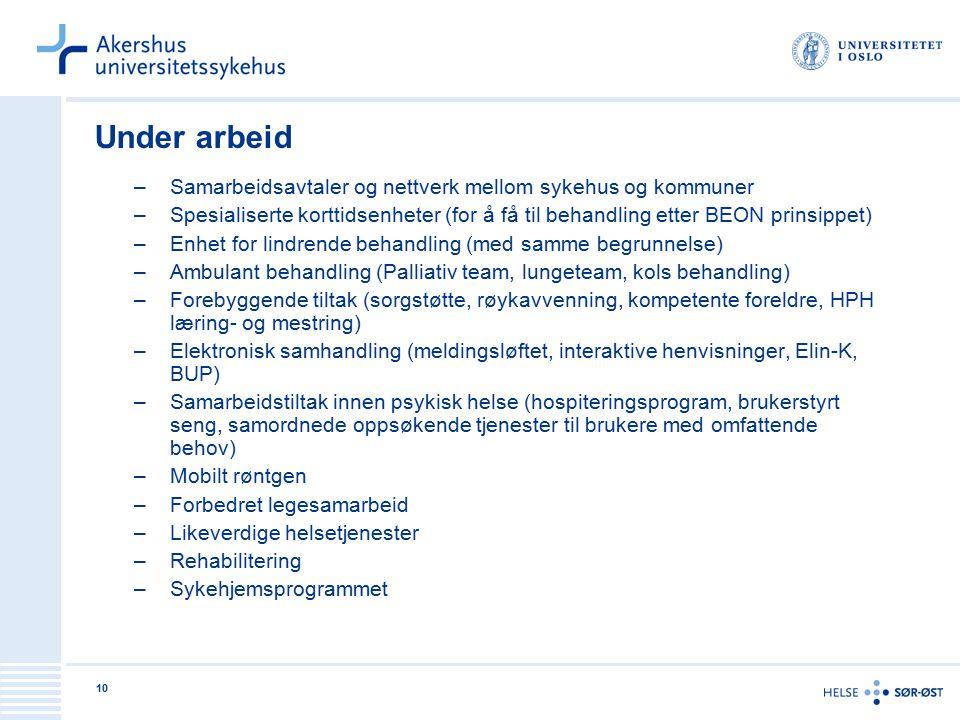 Under arbeid Samarbeidsavtaler og nettverk mellom sykehus og kommuner