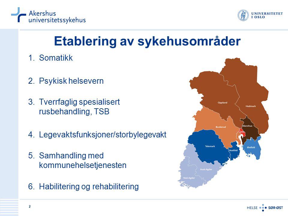 Etablering av sykehusområder