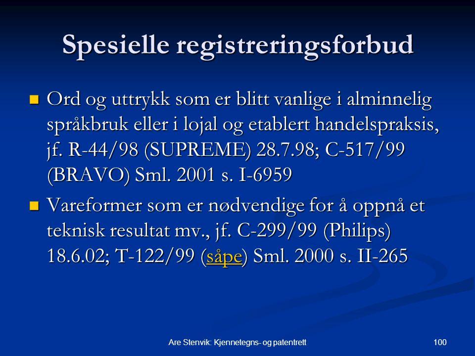 Spesielle registreringsforbud