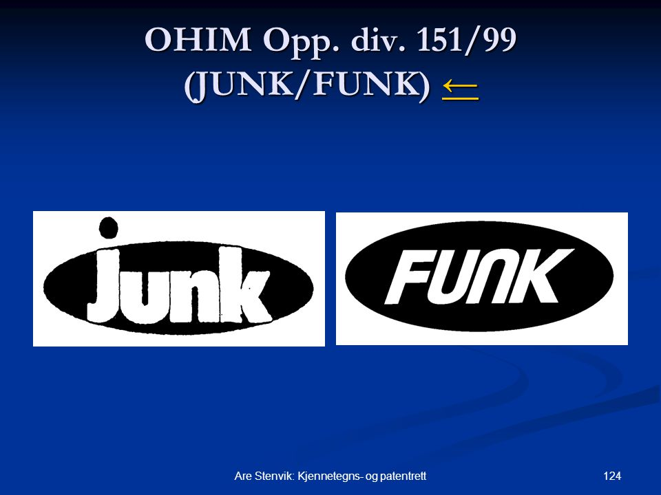 OHIM Opp. div. 151/99 (JUNK/FUNK) ←